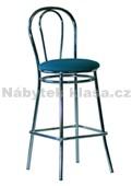 TULIPÁN HOCKER CHROM - Barová židle, potah koženka